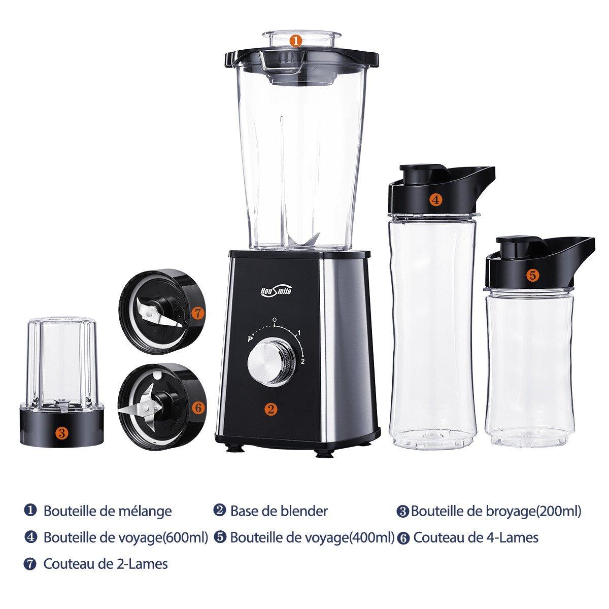 Housmile Mini Blender Portable Mixeur de 600ml Puissance de 300W Avec Couvercles et 3 Bouteilles(600,400,200ml) pour Sport, Voyage et Maison
