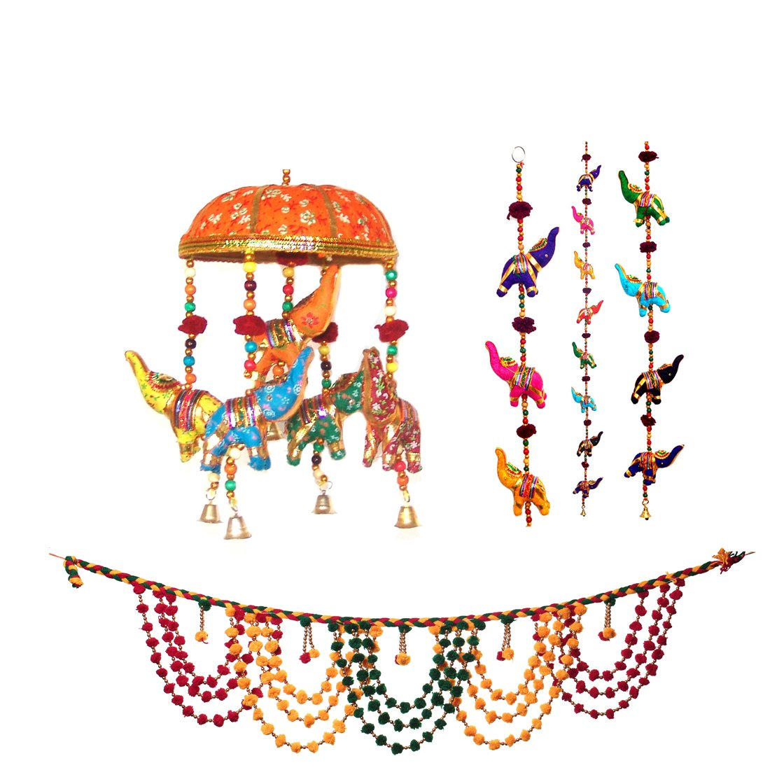 Combo of Handcrafted Elephant Door Hanging Home /Wall Décor- 1 Pair With Indian Diwali Door Valance Wall Decor Hanging Festive Decoration Gift and Elephant wall Hanging