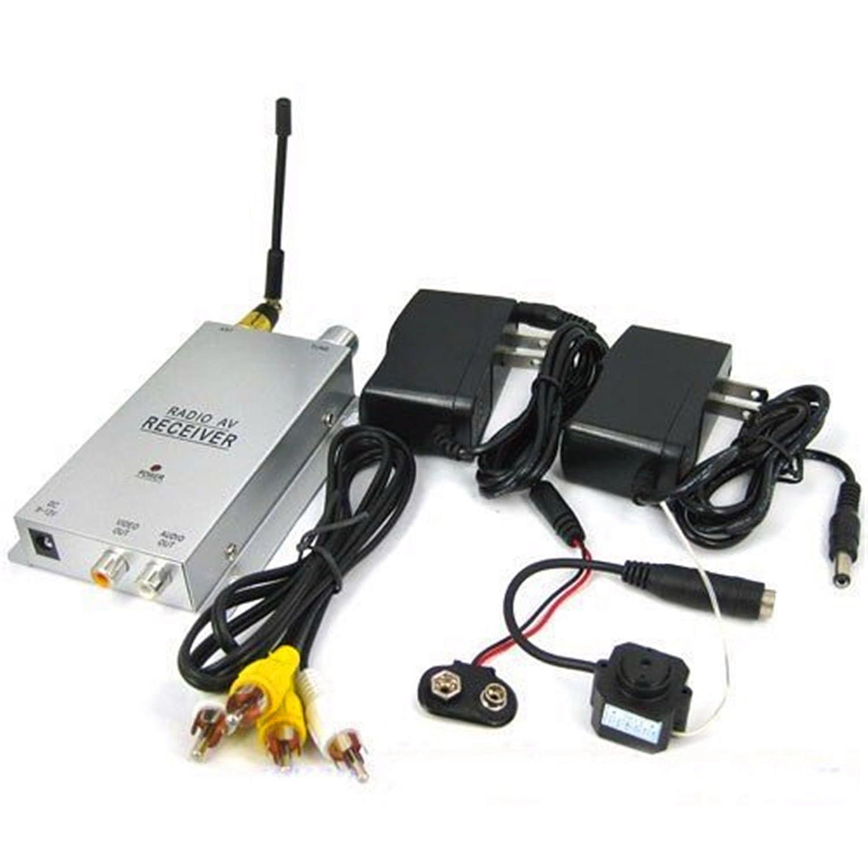 Grandey Pinhole 1 4 12GHz CMOS Wireless A V Hidden Spy Camera Receiver Set MIC Mini Security Nanny Micro Cam Complete