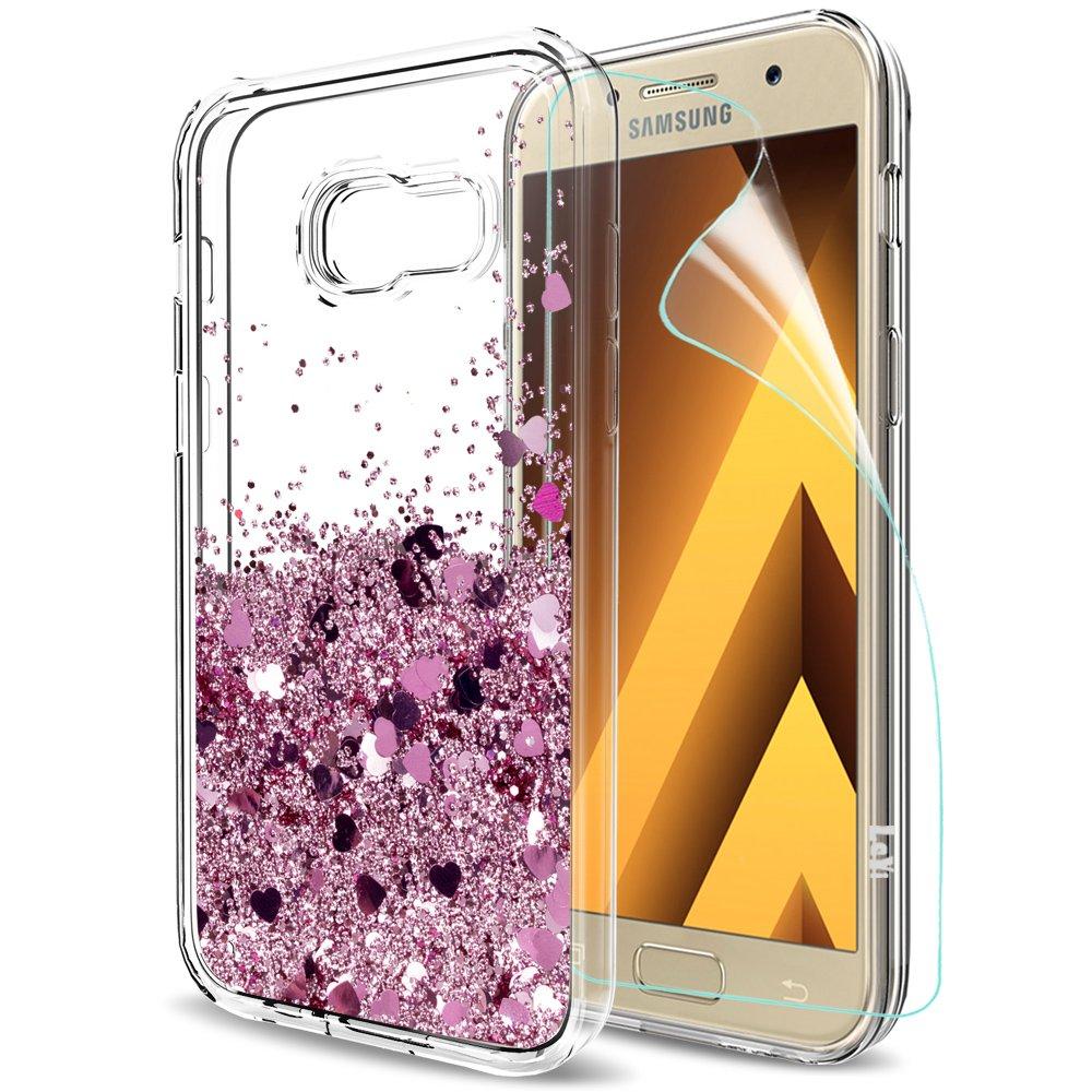 LeYi Funda Samsung Galaxy A5 2017 Silicona Purpurina Carcasa con HD Protectores de Pantalla,Transparente Cristal Bumper Telefono Gel TPU Fundas Case Cover ...