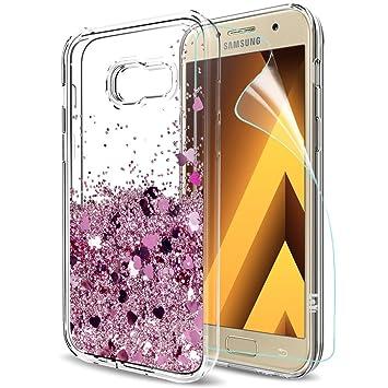 LeYi Funda Samsung Galaxy A5 2017 Silicona Purpurina Carcasa con HD Protectores de Pantalla,Transparente Cristal Bumper Telefono Gel TPU Fundas Case ...