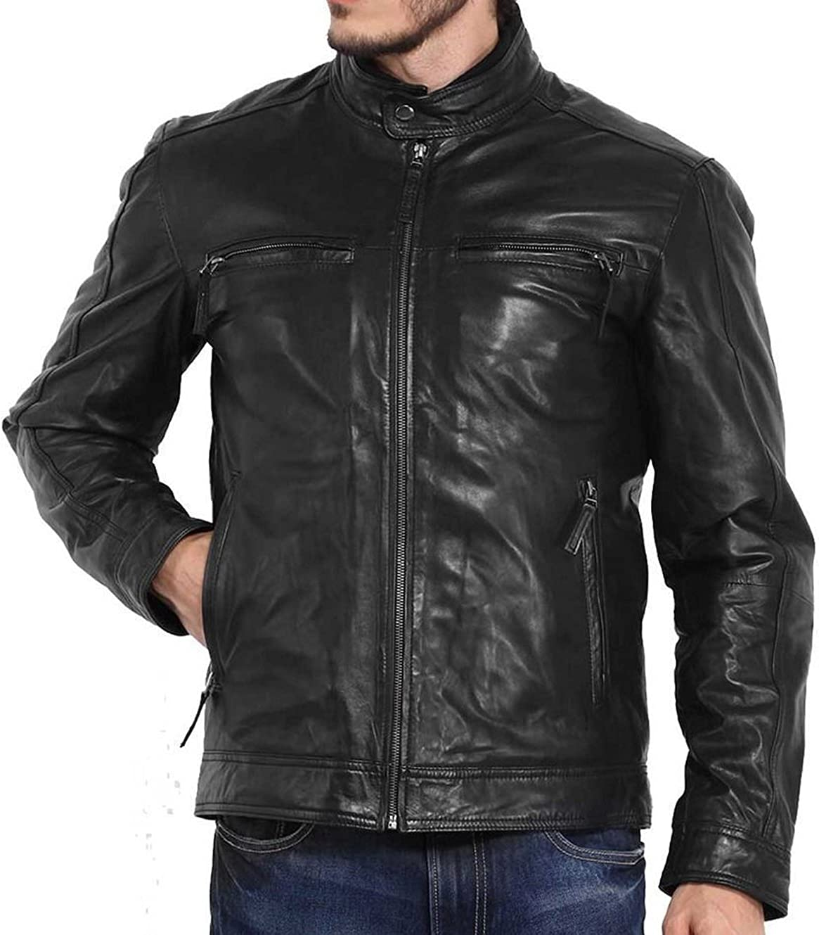 Kingdom Leather New Men Designer Genuine Lambskin Soft Biker Leather Jacket X1034
