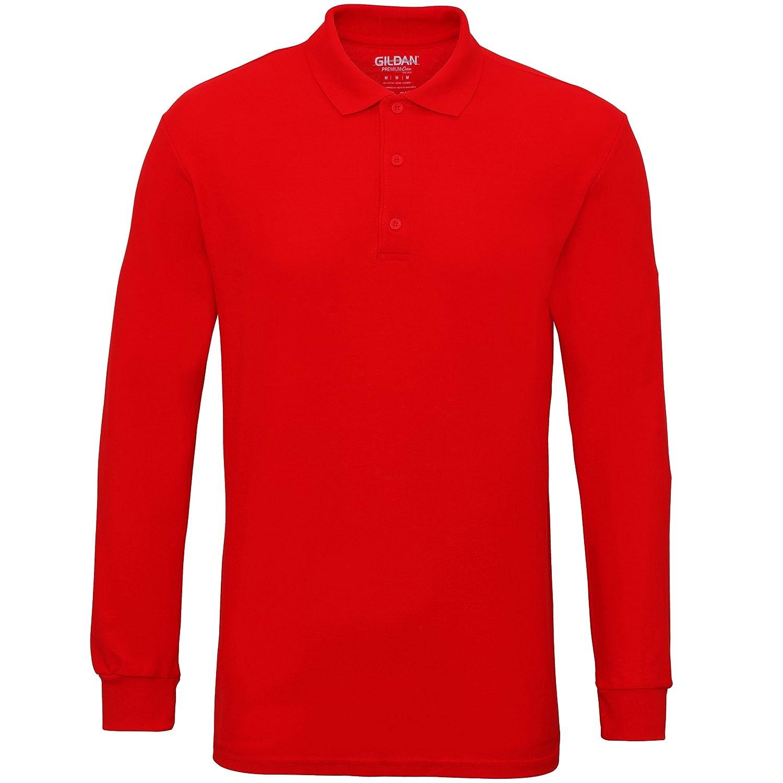 Gildan Mens Long Sleeve Double Pique Cotton Polo Shirt