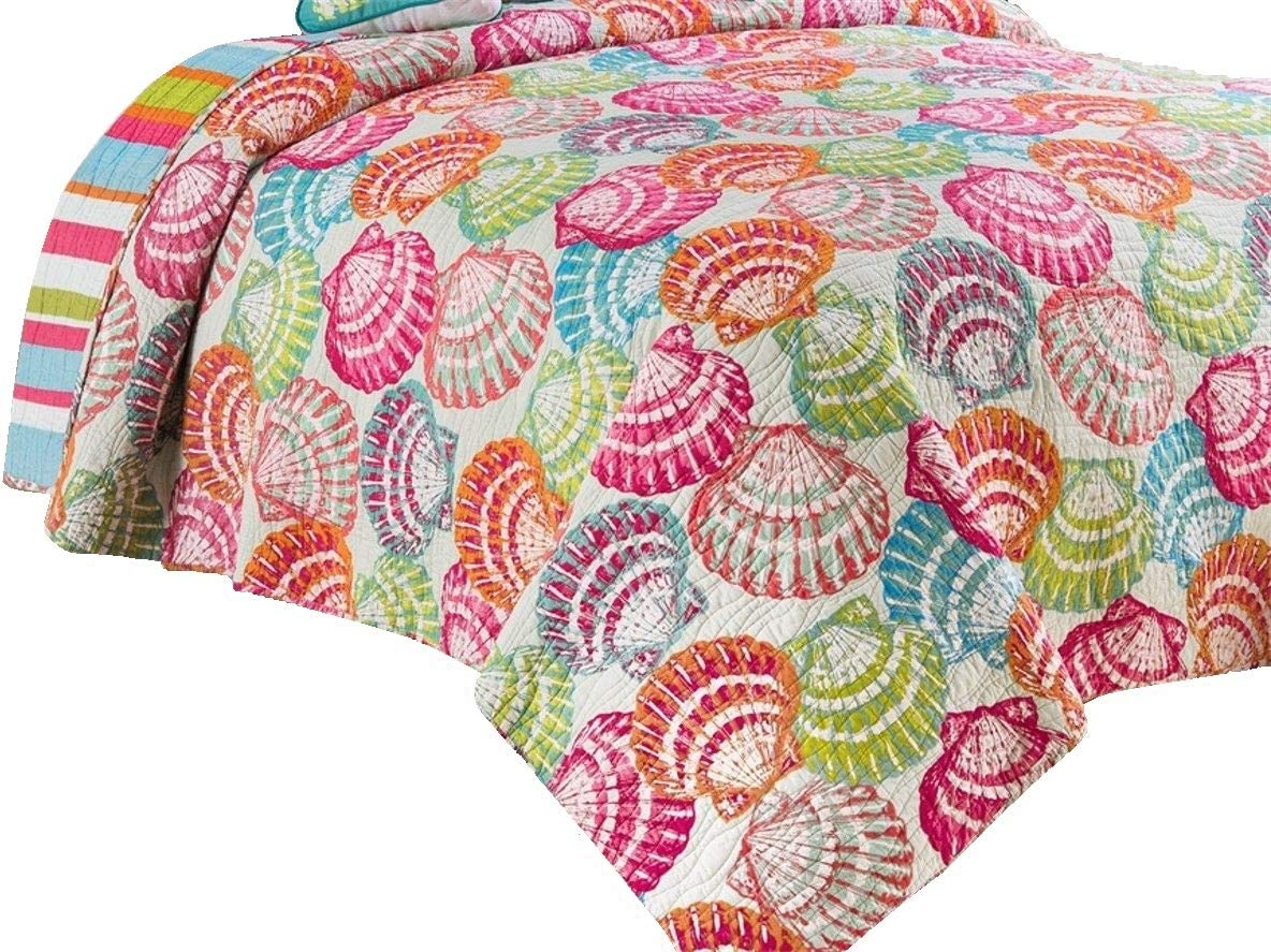 C&F Home 82448 Merritt Island Reversible Mini Set Queen or Full Size Quilt 90 Inches X 92 Inches and 2 Standard Shams