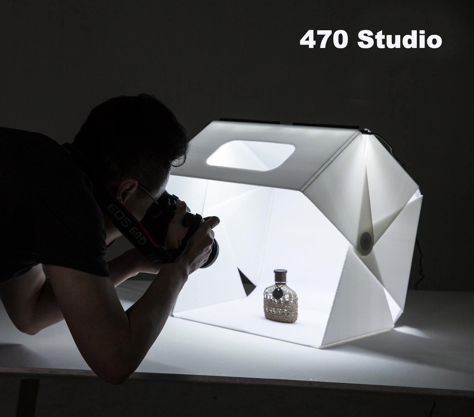 Slowbeat Foldable 15.7'' x 17'' Photo Studio LED Booth Light Box Shooting Tent Light Kit for E-Commerce Shooting - Including LED Light Set/USB Cable/White/Black Backgrounds