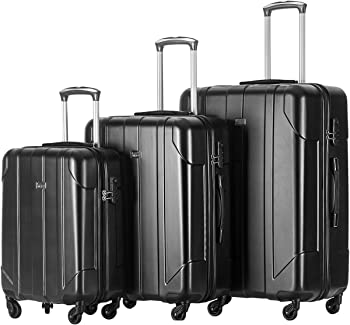 Merax 3 Piece Black Luggage Set Light Weight Spinner Suitcase Set
