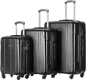 Merax 3 Piece Black Luggage Set Light Weight Spinner Suitcase Set with Lock
