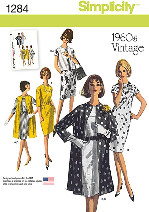 1950s Sewing Patterns | Swing and Wiggle Dresses, Skirts SIMPLICITY US1284R5 Misses 1960s Vintage Dress Coat and Vest Sewing Template $7.56 AT vintagedancer.com