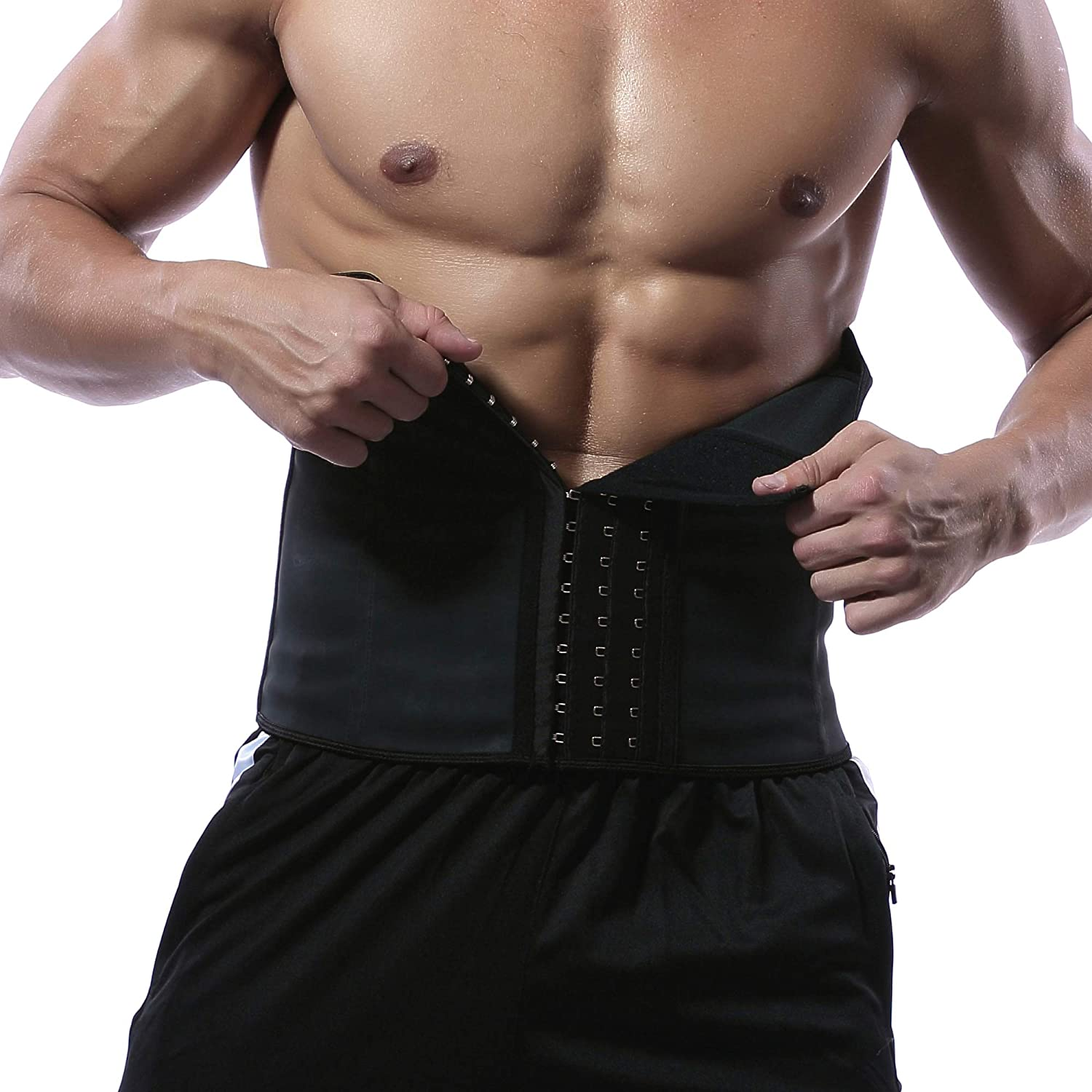 Hanmeimei 100 Latex Men Waist Trainer Belt Workout for Body Weight Loss Fitness Fat Burner Trimmer Band Back Support