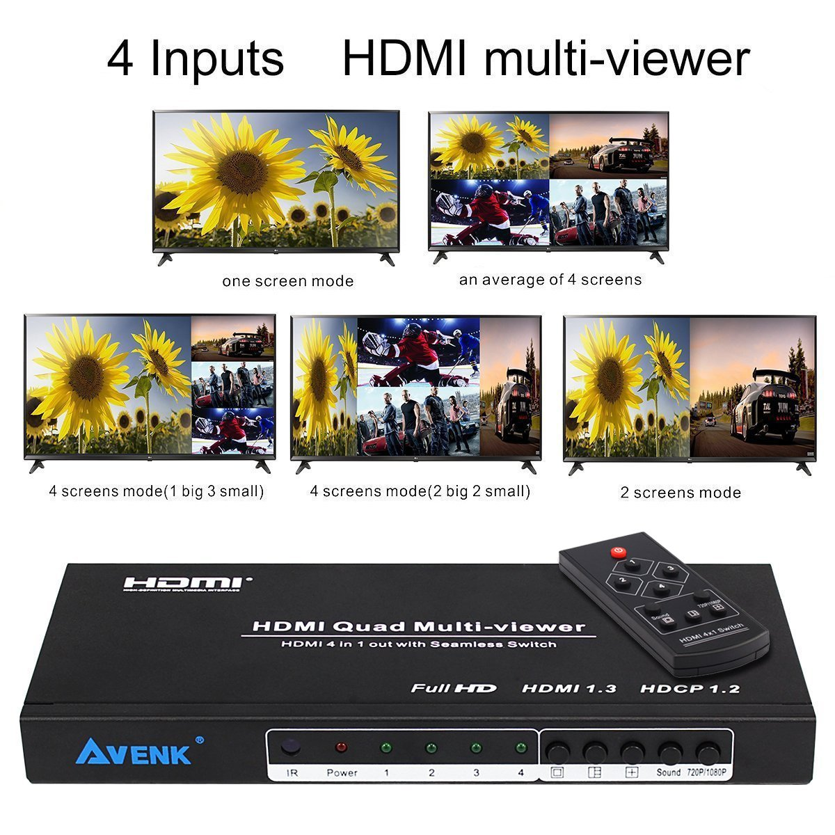 AVENK Quad Multi-Viewer 4x1 HDMI Switcher 4 Ports with Seamless Switch and IR Remote Support 1080P HDMI 1.3a