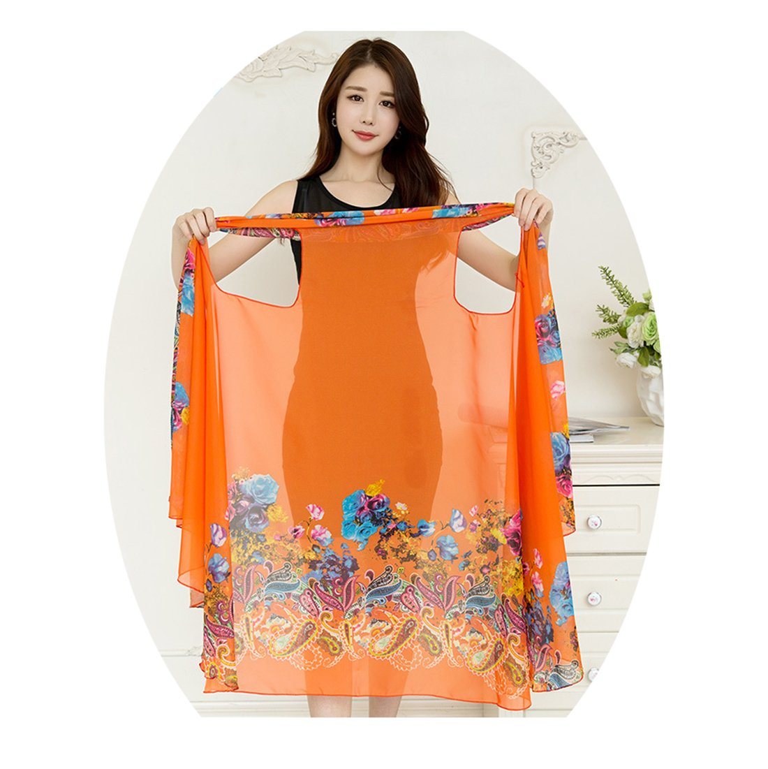 VWU Womens Magic Shawl Versatile Scarf, Can Be Dress/Vest/Bolero/Towel/Kilt/Shirt/Poncho/Beach Cover Ups and More Variation (ONE Size FIT More: 170105CM/7041IN, Style d02: Orange and Flower Print)