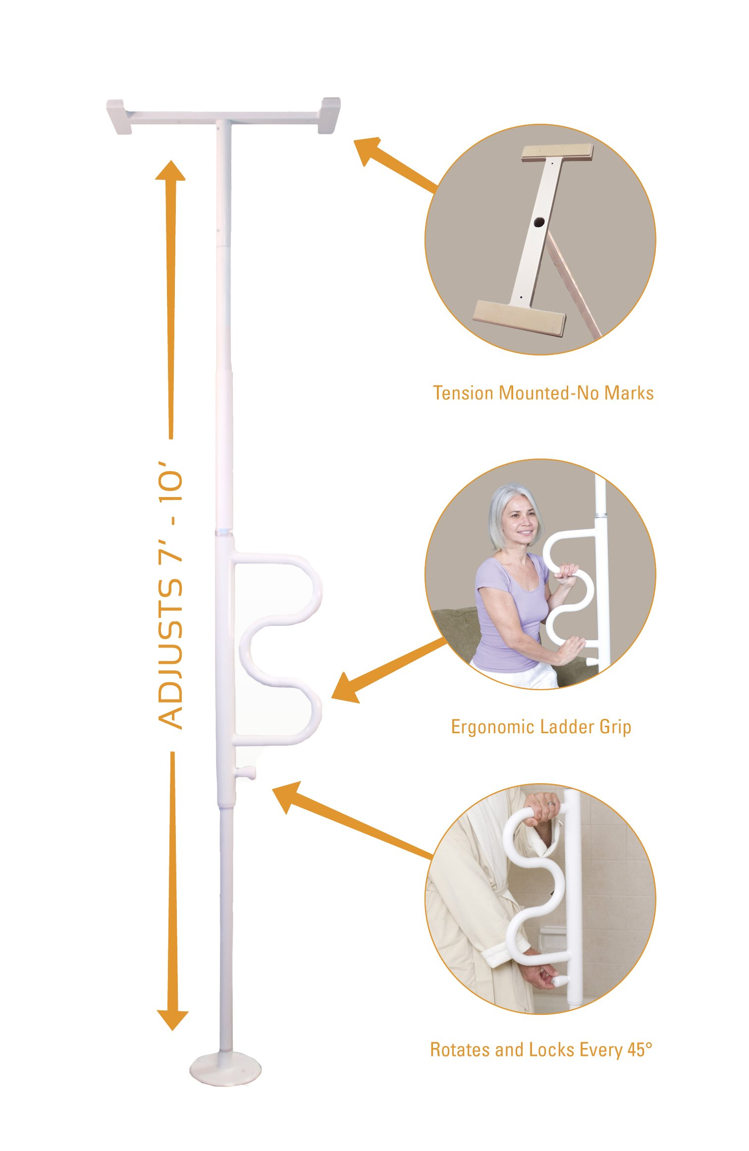 Stander Security Pole & Curve Grab Bar - Elderly Tension Mounted Transfer Pole + Bathroom Assist Grab Bar - Iceberg White by Stander (Image #10)