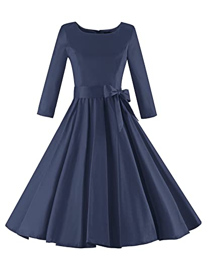 Robe rétro rockabilly années 50 Luouse élégante pour femme - Manches 3 4 -  Bleu - 44  Amazon.fr  Vêtements et accessoires 559d44015c48