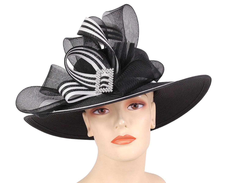Ms Divine Women s Large Brim Straw Derby Church Hats Dress Formal Sun Hats   1520 (Black White) at Amazon Women s Clothing store  3cfad274fec