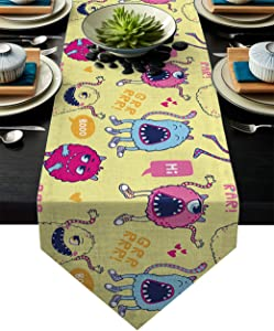 Table Runner Funny Cute Cartoon Monsters Kids Design Table Runners for Catering Events, Dinner Parties, Wedding, Indoor and Outdoor Parties, 18 x 72 Inch