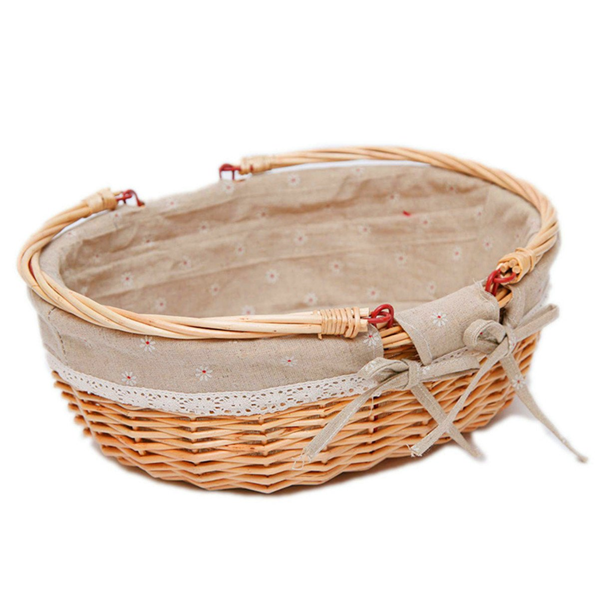 Oypeip Medium Wicker Basket Oval Woven Willow Basket with Double Drop Down Handles and Removable Linen Lining Gift Picnic Basket (Auburn)