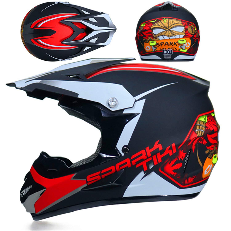 bambini con occhiali casco da motocross di ricambio per adulti ragazzi QSWSW Casco da motocross BMX Dh Racing guanti e maschera