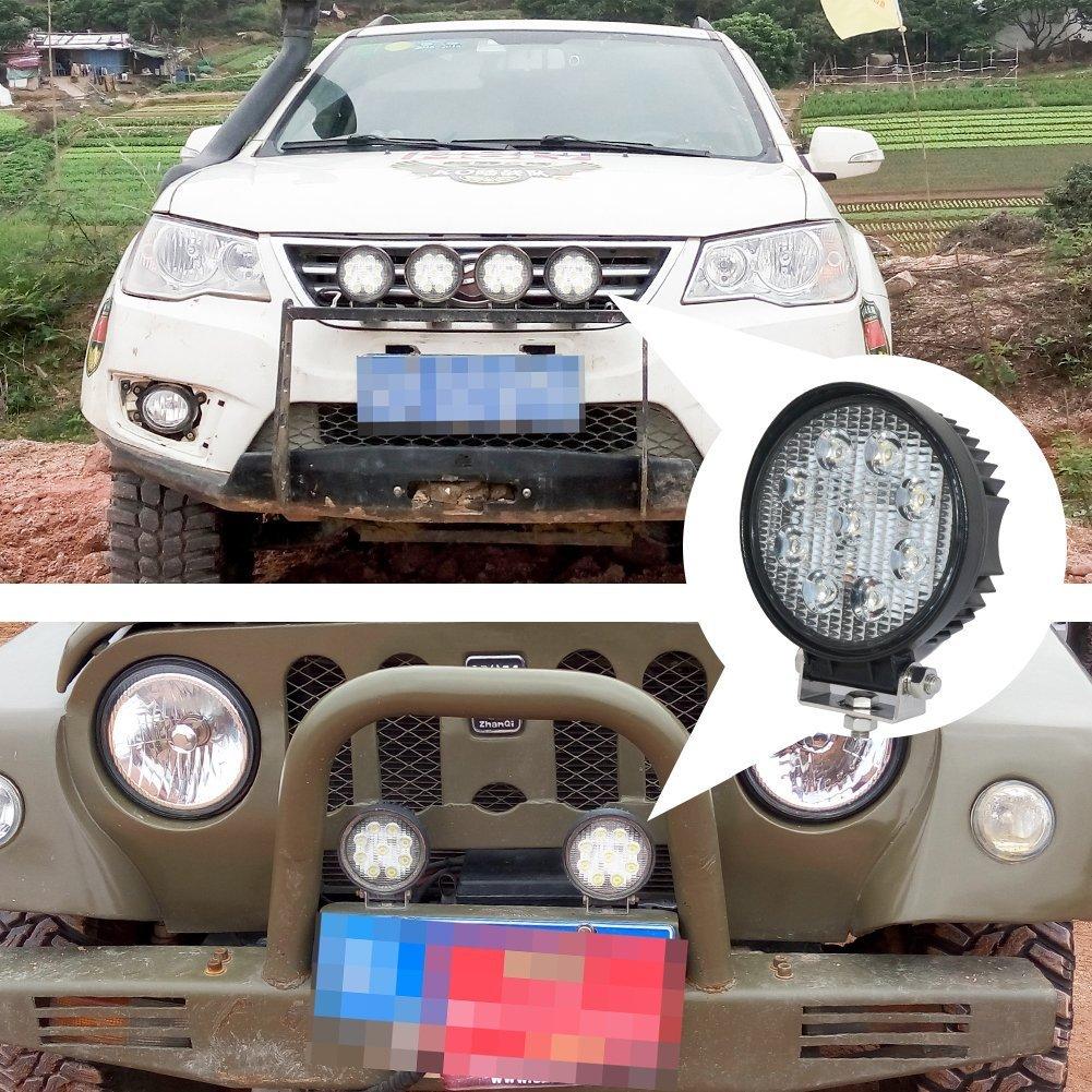 Auto,4WD Impermeabile IP67,realizzato dallazienda JieHe Barra Led Auto,2 Pcs 3 18W 1800LM Faro per Camion UTV,Camion Moto SUV,ATV
