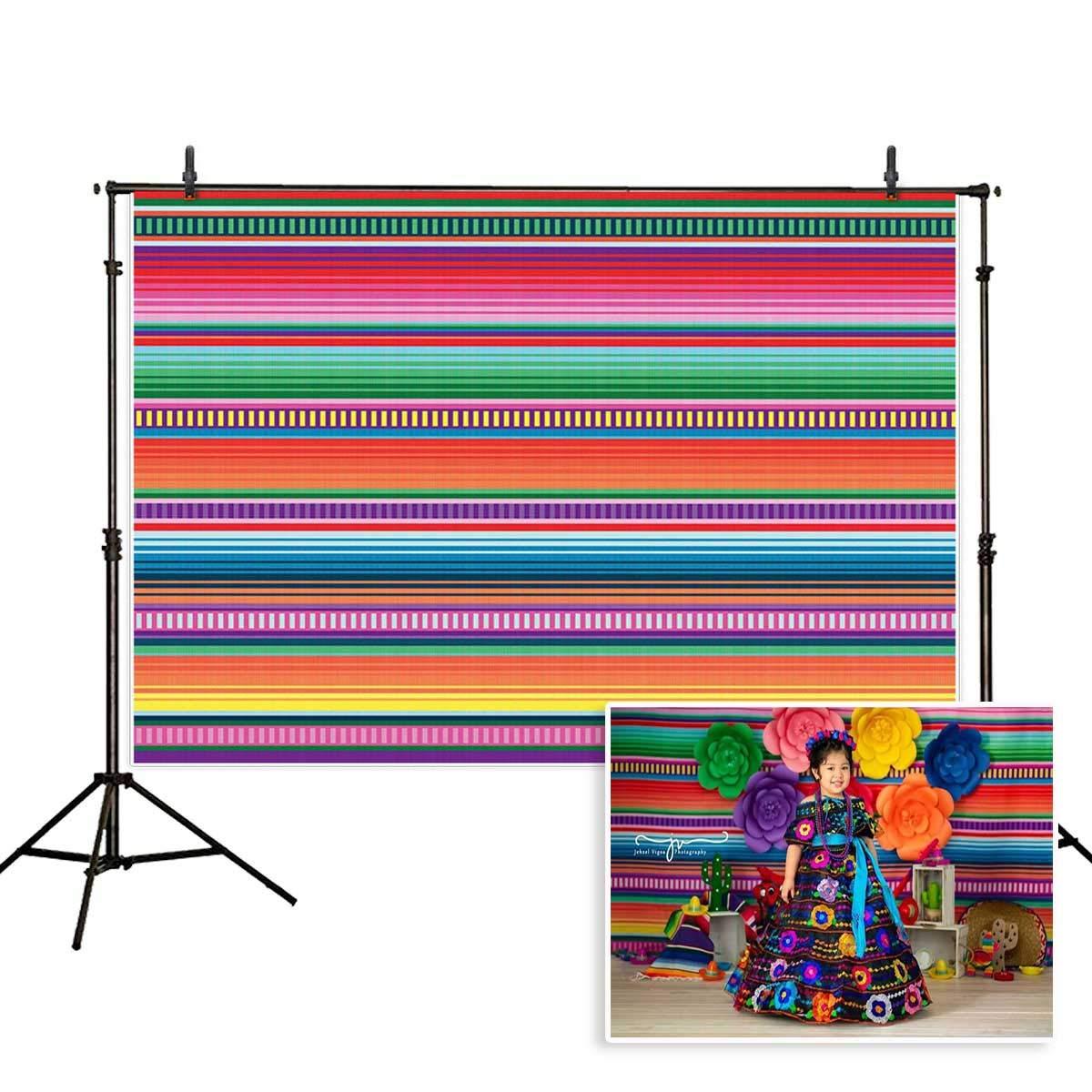 Allenjoy 8x6ft Color Fiesta Theme Party Stripes Backdrop Cinco De Mayo Mexican Festival Photography Background Cactus Banner Decoration Event Table Decor Banner Background Children Photo Booth Shoot