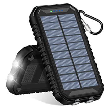 Hiluckey Cargador Solar 15000mAh Impermeabl Batería Externa Portátil Power Bank con 2 Salidas USB 2.1A y LED Ligeros para iPhone, iPad, Samsung, ...