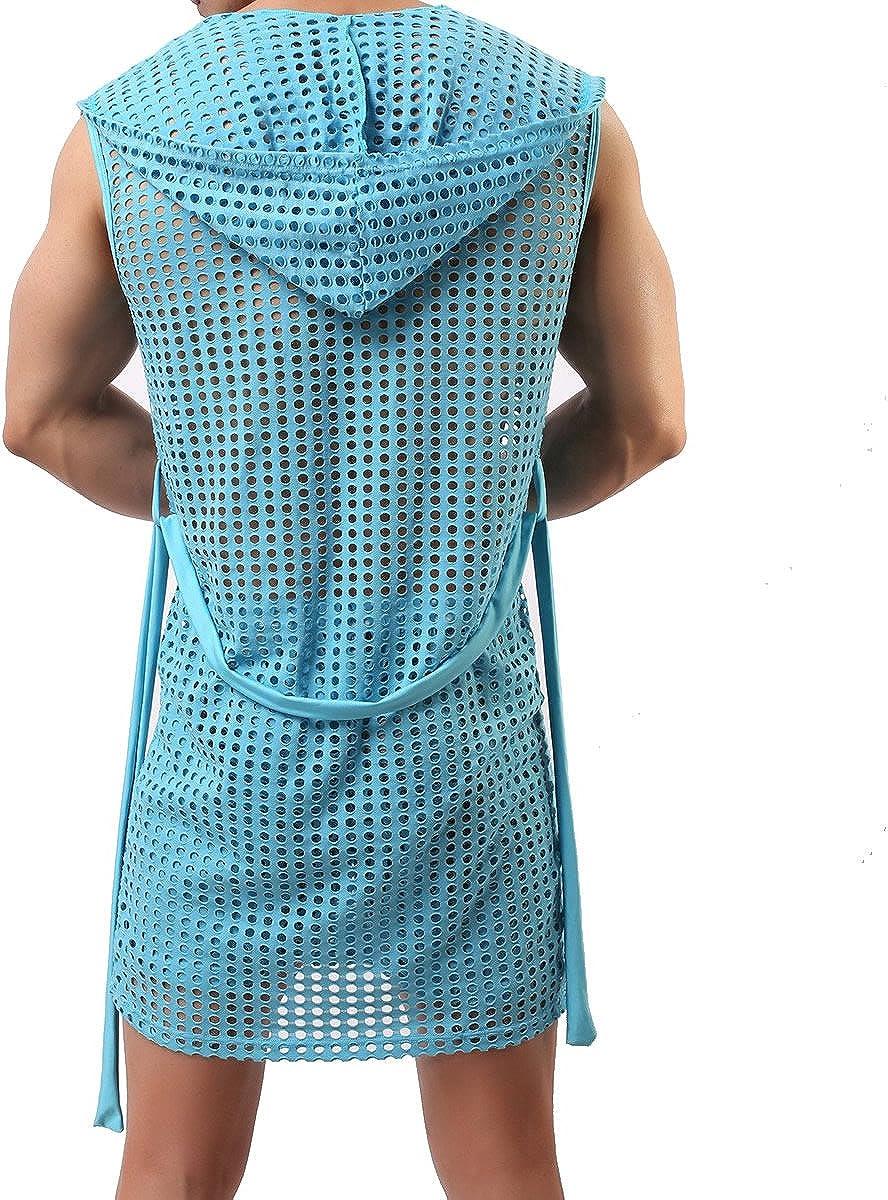 Men's Mesh Fishnet Robes Hooded Short Sleeveless Bathrobes Nightwear