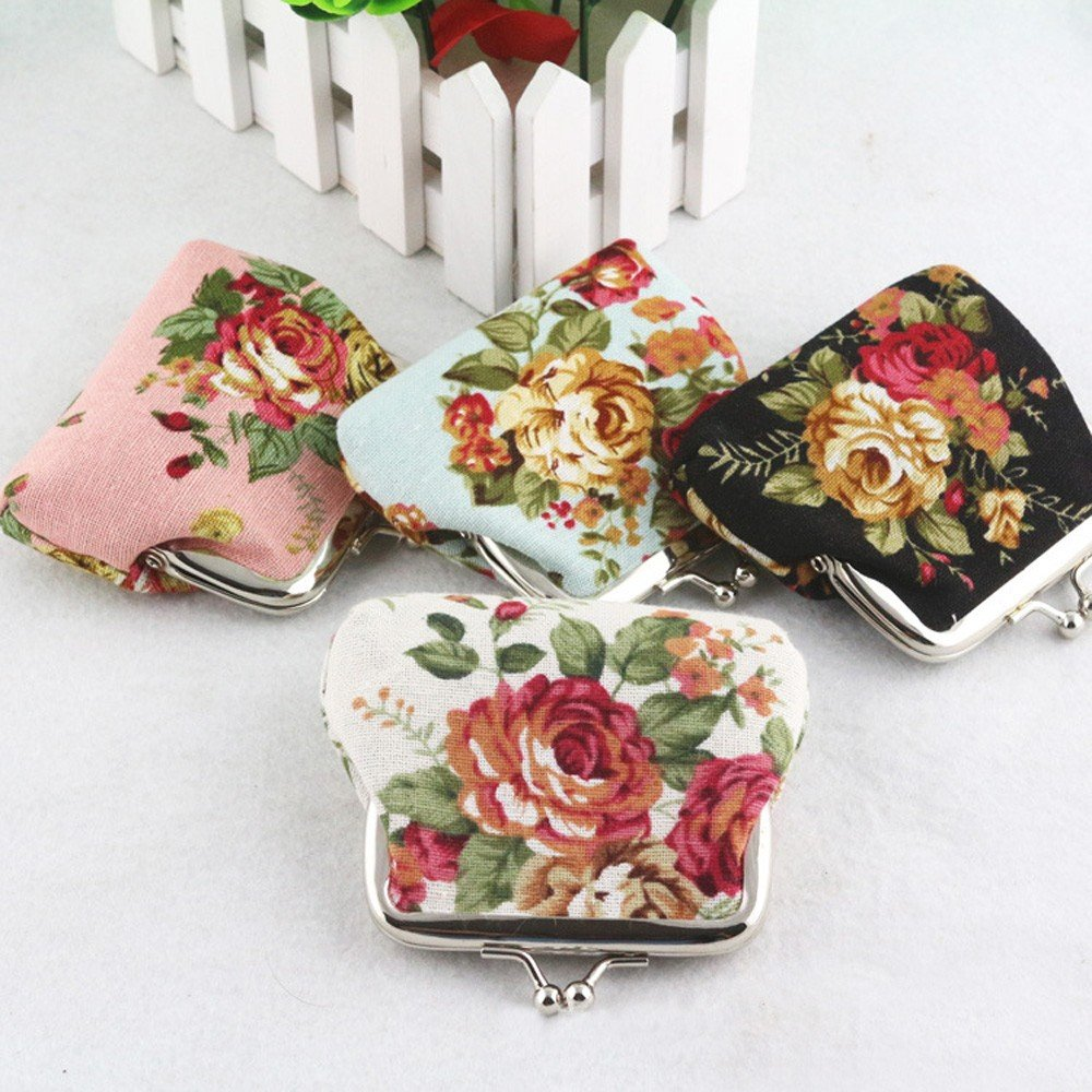 ❤️ Sunbona Coin Purse keychain for Women Lady Retro Vintage Flower Small Wallet Handmade Hasp Purse Clutch Bag (White) by Sunbona (TM) (Image #2)
