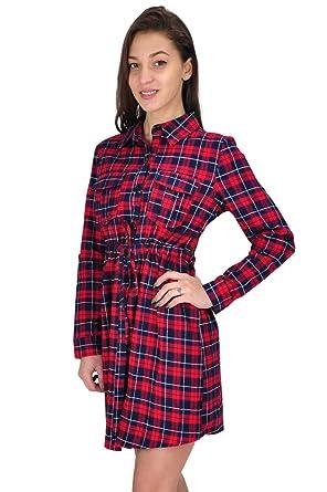 Damen lange Ärmel Rot Check Tartan gemusterte Kleid-Partei ...