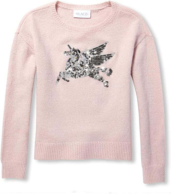 The Childrens Place Big Girls Long Sleeve Graphic Sweater