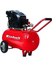 Einhell Kompressor TE-AC 270/50/10 (1.800 W, max. 10 bar, 50 l-Tank, Druckminderer, Rückschlag-/Sicherheitsventil, Entwässerungsschraube, vibrationsgedämpfte Standfüße, langlebig durch Ölschmierung, Räder + Transportbügel)