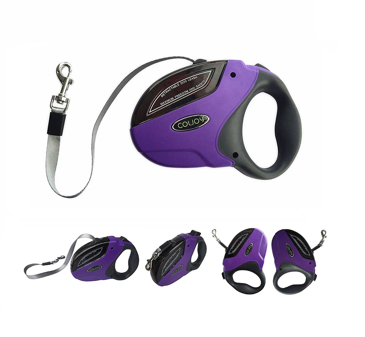 COLJOY Retractable Dog Leashes, Heavy Duty Nylon No Tangle Pet Leash Dog Lead 16ft for Small Medium Large Dogs up to 110lbs with One Button Break & Lock and Easy Instant Retraction, 1pc Purple