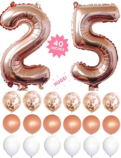 25 Rose Gold 40 Inch Huge Giant Number Balloons Foil Mylar With Set Of