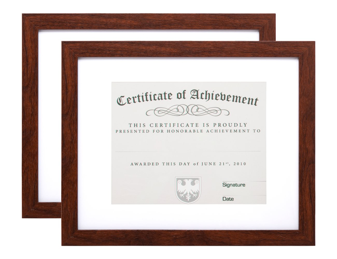 Memooq 2-Pack, Document Frame - Made for Documents Sized 8.5x11 Inch with Mat and 11x14 Inch without Mat Brown, College diploma frames