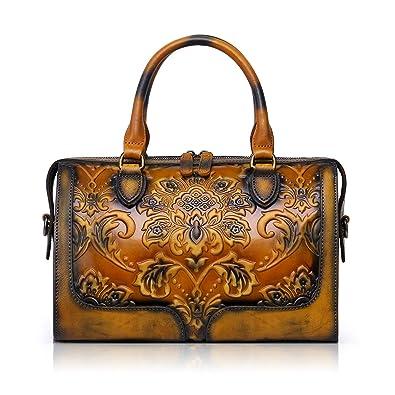 APHISON Designer Hand Bags Unique Embossed Floral Women s Leather Handbags  (BROWN)