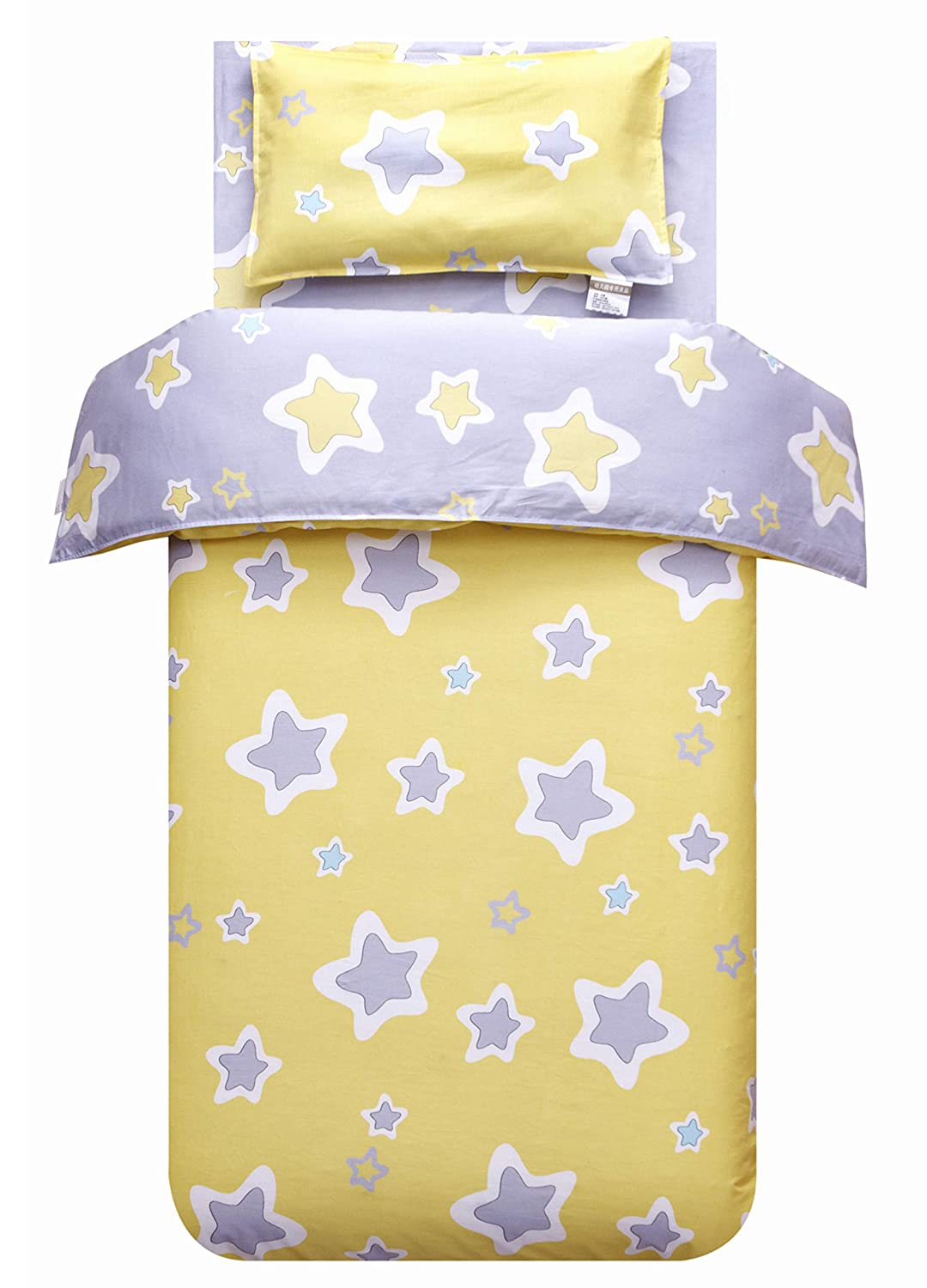 MEJU Yellow Stars 100% Cotton Duvet Cover + Pillowcase Bedding Set with Zipper Closure for Baby Toddler Boys Girls Crib Bed Decoration Gift (5)