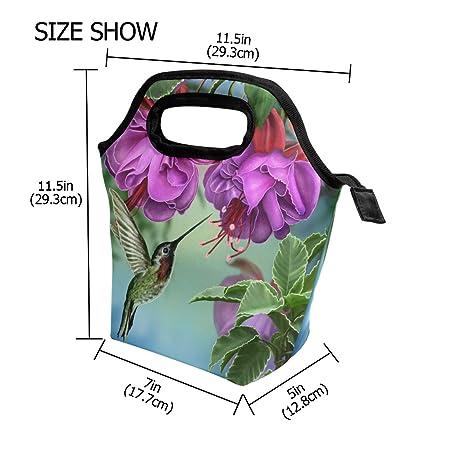 74b71c11200c Naanle Bird Hummingbird Insulated Zipper Lunch Bag Cooler Tote Bag for  Adult Teen Men Women, Bird Lunch Boxes Lunchboxes Meal Prep Handbag