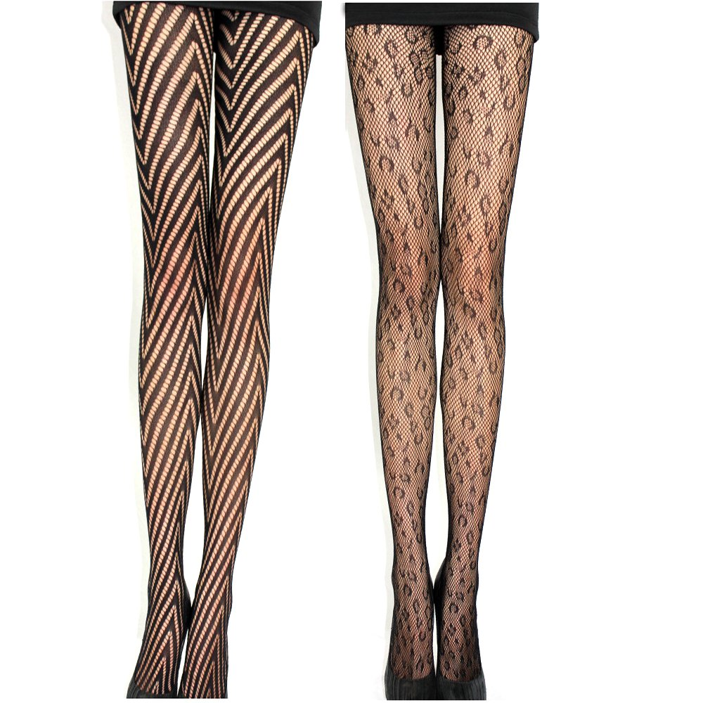 62cba7e7dcb 2 Pack Sexy Women Black Fishnet Lace Pantyhose Hosiery Hollow Out Mesh Tights  With Elastic Waistband (Style 1) at Amazon Women s Clothing store