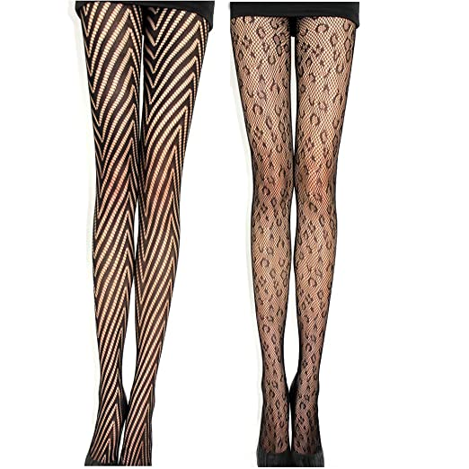 6fb307d126f 2 Pack Sexy Women Black Fishnet Lace Pantyhose Hosiery Hollow Out Mesh Tights  With Elastic Waistband