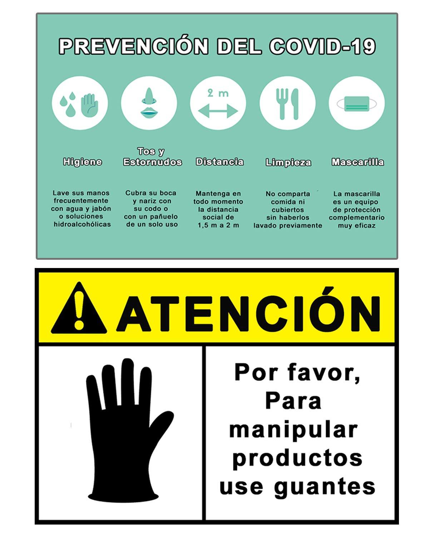Señalización Coronavirus - COVID19   Señales Uso de Guantes + Pautas Preventivas   Carteles para Empresas, Comercios, Oficinas   Autoinstalable   21 x 30 cm