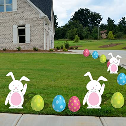 VictoryStore Yard Sign Outdoor Lawn Decorations: Easter Egg And Bunnies,  FLAT Pathway Markers