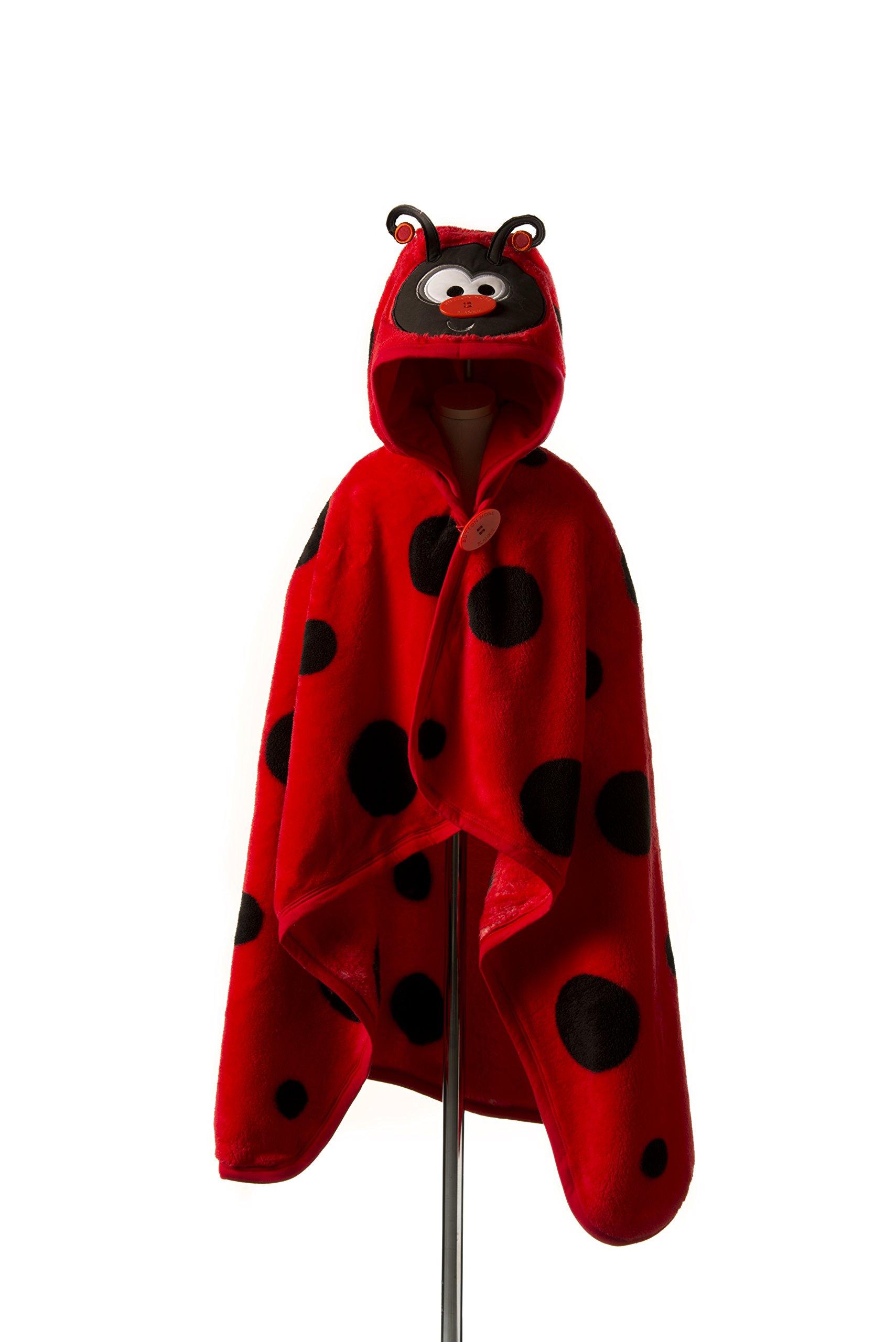 Goo-Goo Baby Button Nose Kid's Hooded Blanket and Towel, Warm Soft Fleece Character Blanket, Ladybug, 0-10 Years