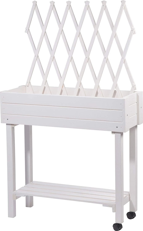 dobar - Jardinera versátil con Soporte Integrado para Enredaderas, bancal Enrollable para terraza y balcón, 79 x 28,5 x 130 cm, Abeto, Blanco