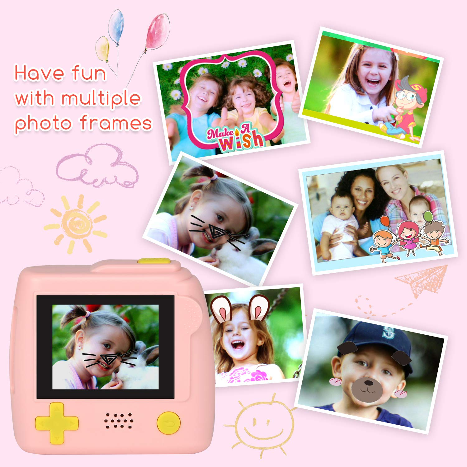 Kids Camera Gifts for 4-8 Year Old boys or girls, Great Gift Mini Child Camcorder for children with Soft Silicone Shell and 5 Mega pixel front lens 2.0 inch HD screen (32G TF card not included) by eyesen (Image #5)