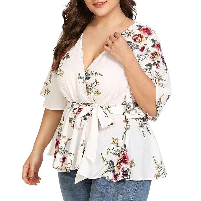 a615b40cab12 Weant Abbigliamento Donna Tshirt,Maglietta Manica Stampa Taglie Forti  Elegante Benda Sexy v Tops Orlo
