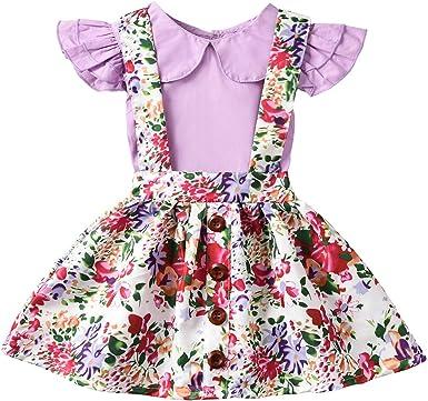 Tianhaik Conjunto de Falda de Tirantes para niña pequeña bebé ...