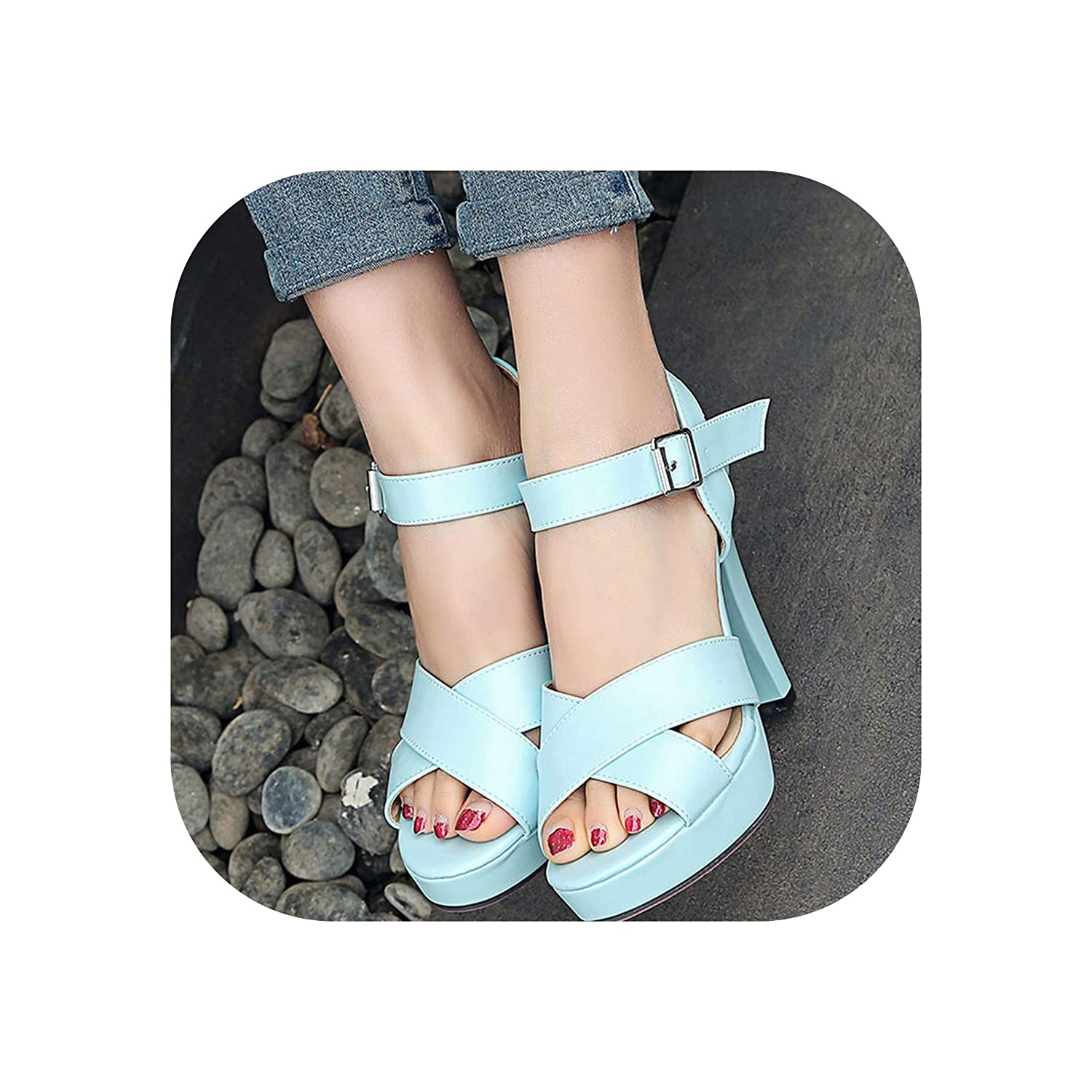 bluee Women Sandals Thick High Heels Open Toe Platform shoes Woman Summer shoes