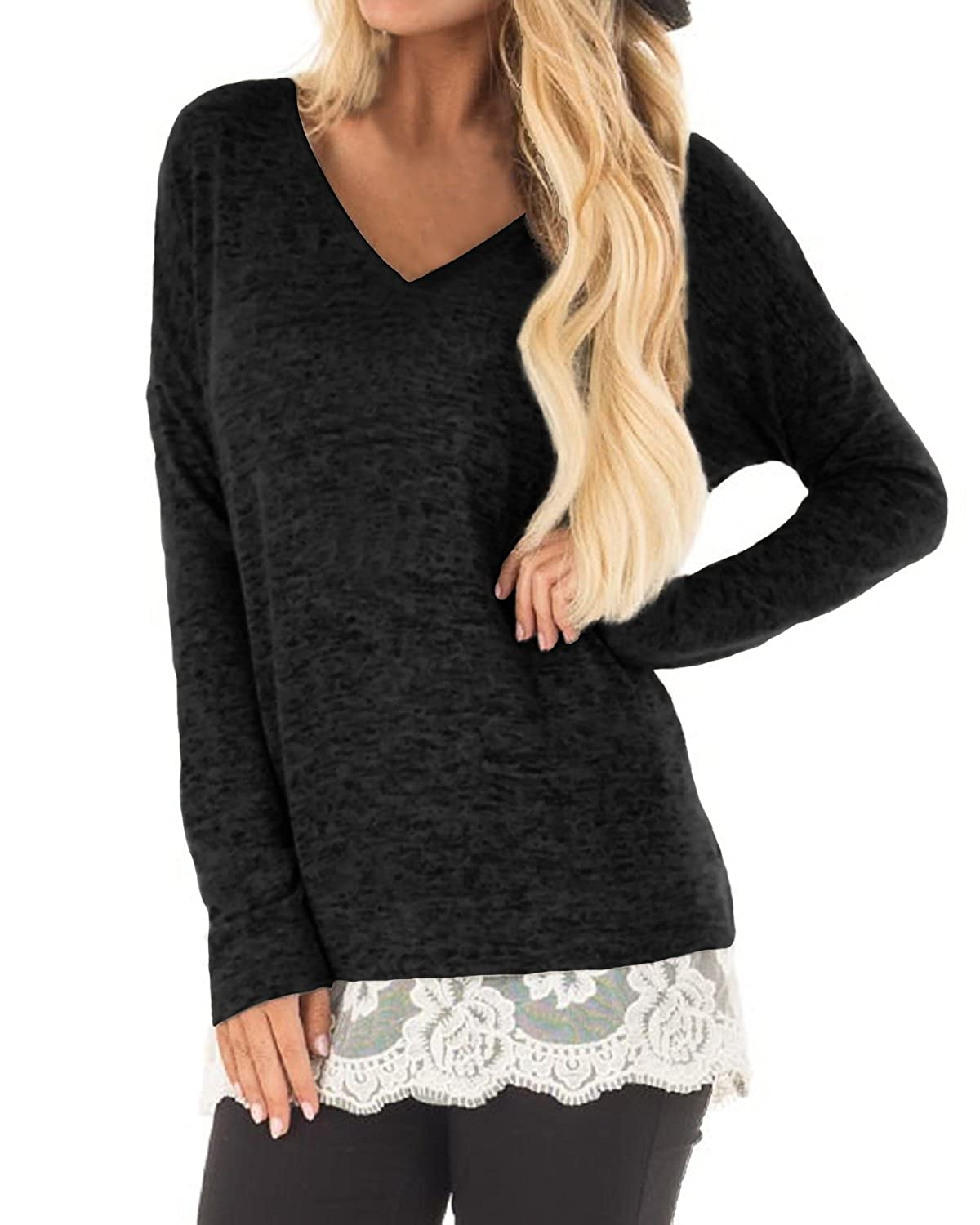 15b17b861cb3 Style: Flowy Tunic Tops,Cute Lace Hem Details On Front ,Casual Long Sleeve  T-Shirt Dress for Women. Features: Round Neck, Solid Colors, Long Sleeve,  ...