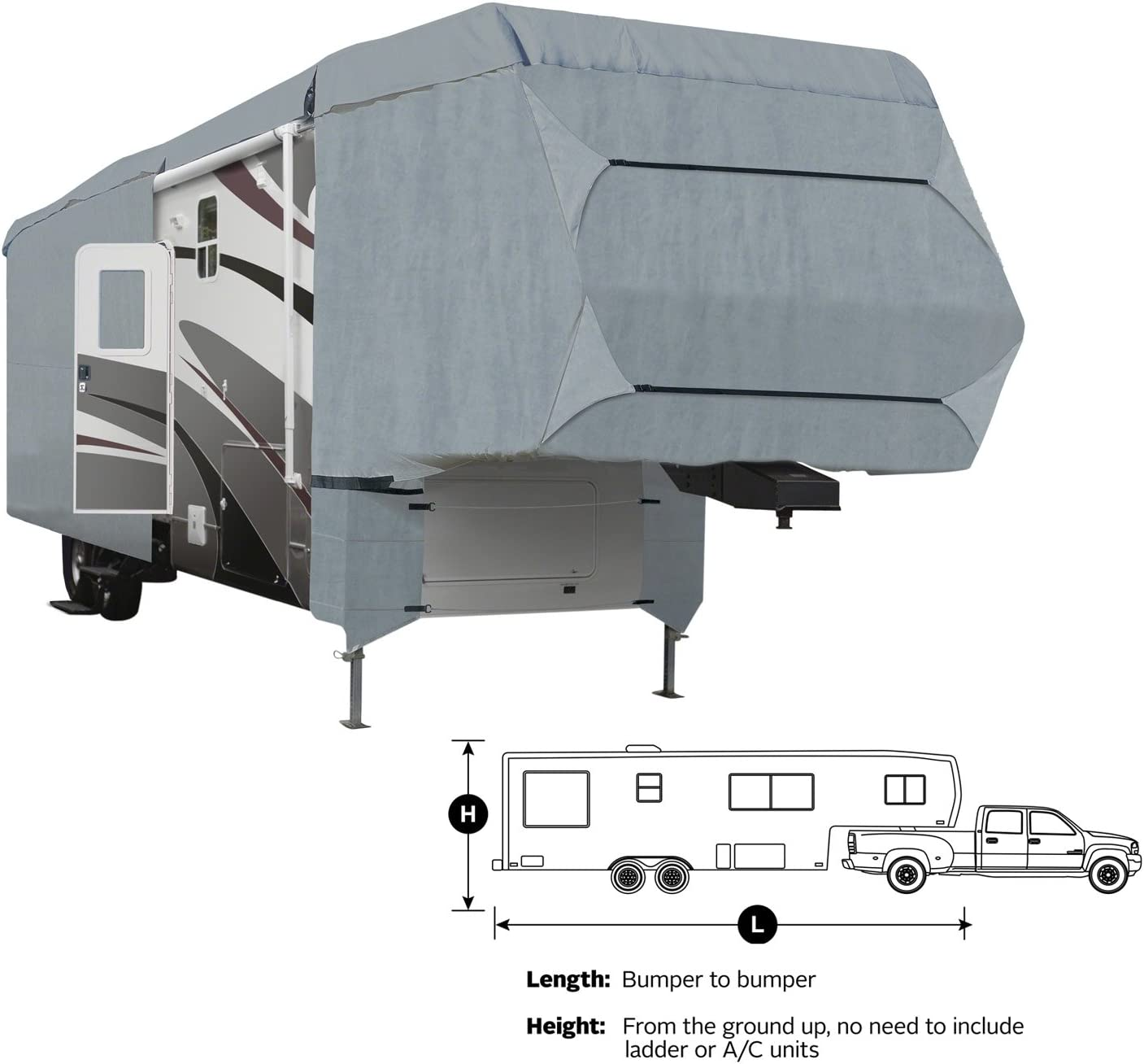 Ripstop Waterproof with a Pair of Assist Steel Pole 26-29 XGEAR Easy Setup 5th Wheel RV Cover Thick 3-Ply Top Panel