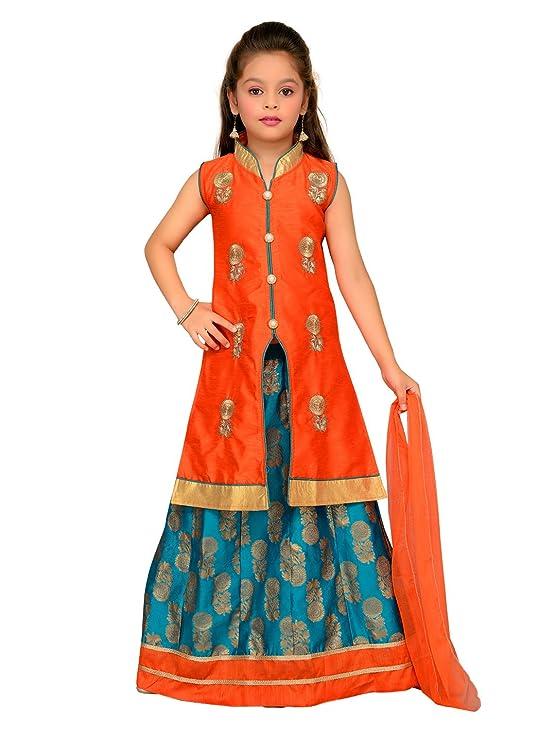 Aarika Girl's Silk Chanderi Long Jacket Lehenga and Dupatta Set Girls' Lehenga Cholis at amazon