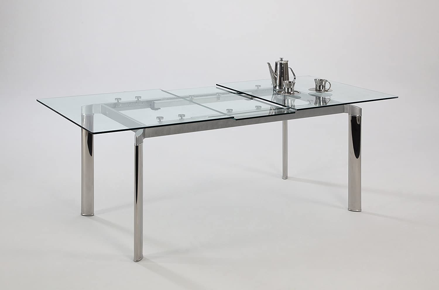 Amazon Chintaly Imports Pop Up Extension Glass Dining Table Stainless Steel Clear Kitchen