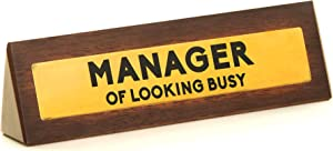 Boxer Gifts 'Manager Of Looking Busy' Novelty Wooden Desk Warning Sign | Funny Office Humor Gift For Colleague Or Boss | 4.5cm x 17.5cm